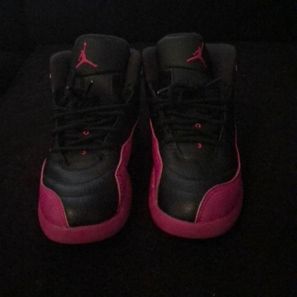 bf2cd3d0e966ad Jordan Other - Kids Black And Deadly Pink Retro 12 Jordan